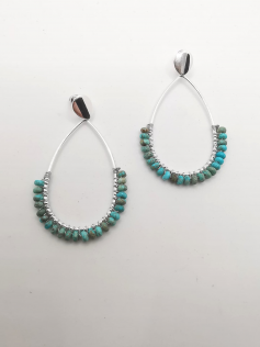 Boucles perles turquoises