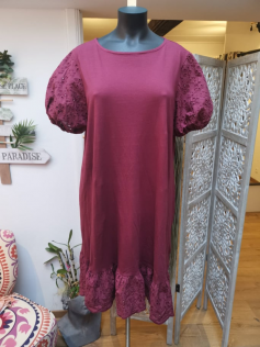 Robe casual broderie bordeaux
